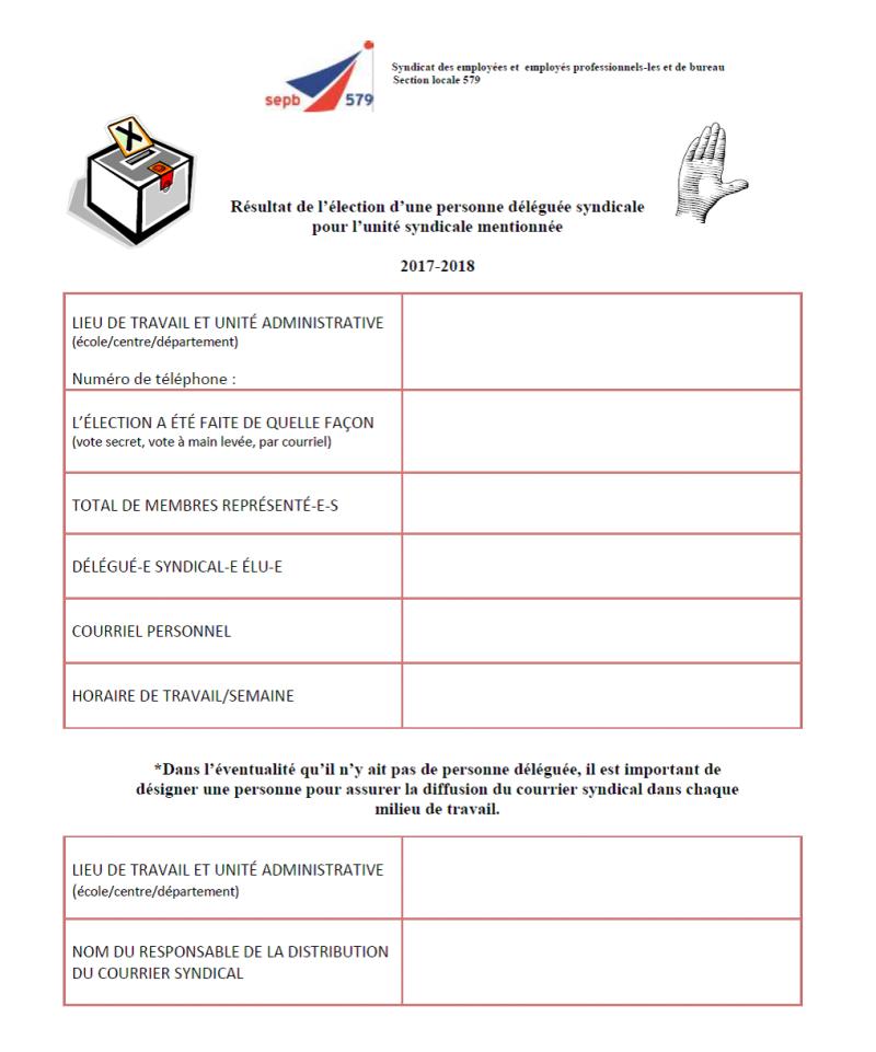 Tableau élection délégué-e